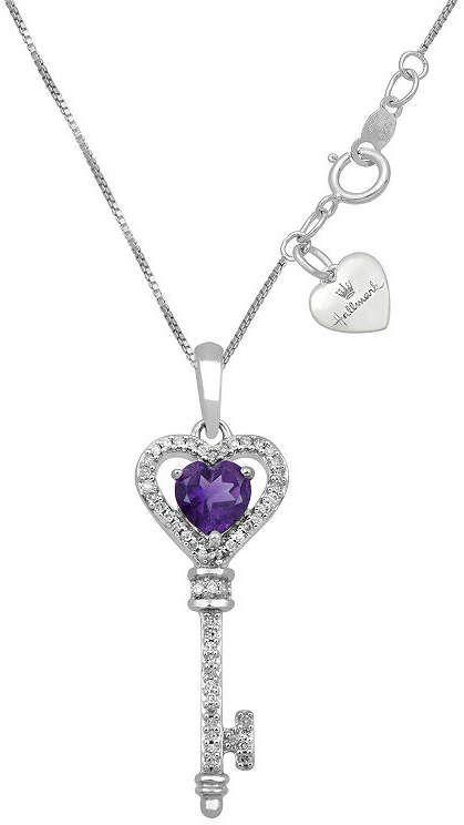 893f2635a HALLMARK DIAMONDS Hallmark Diamonds Womens Genuine Purple Amethyst Sterling  Silver Keys Pendant Necklace