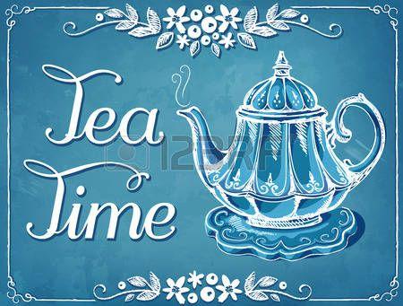 Ilustración del tiempo del té con la tetera. Marco floral. imitación ...