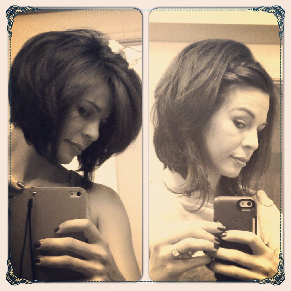 Growing Out An Angled Bob Texture Is Key Short Hair Styles Her Hair Angled Bob