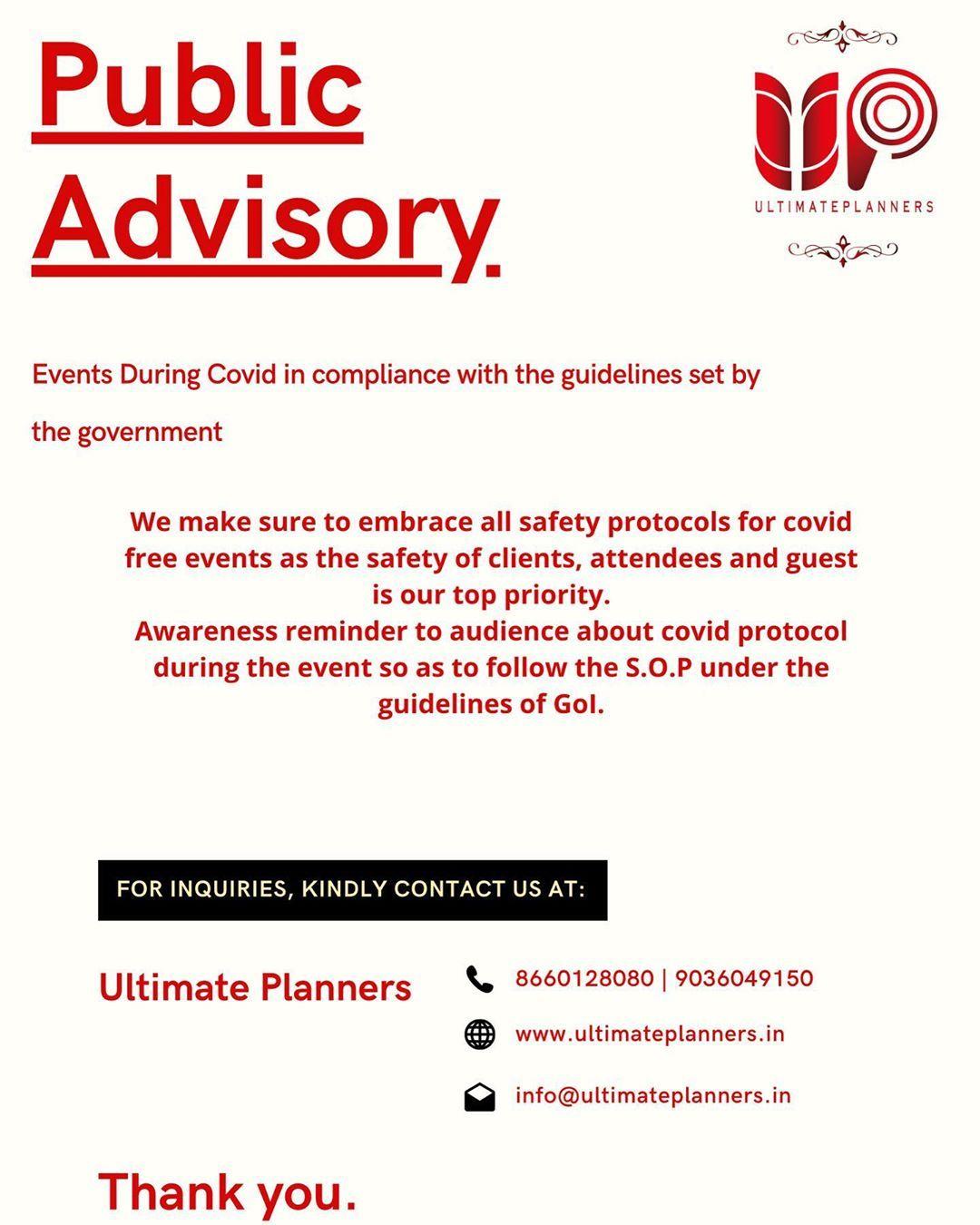 Public Advisory  #eventplanner #eventplanners #covidplanning #eventsinbangalore #bangalore #india #ultimateplanners #wedding #weddings #indianwedding #indianweddings #corporate #corporateevents #btl #btlactivation
