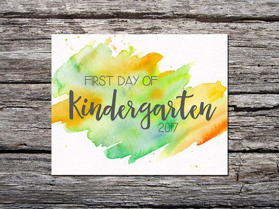 First Day of School Sign / Kindergarten / Watercolor / Green Yellow / First Day / Back to School Sig #firstdayofschoolsign