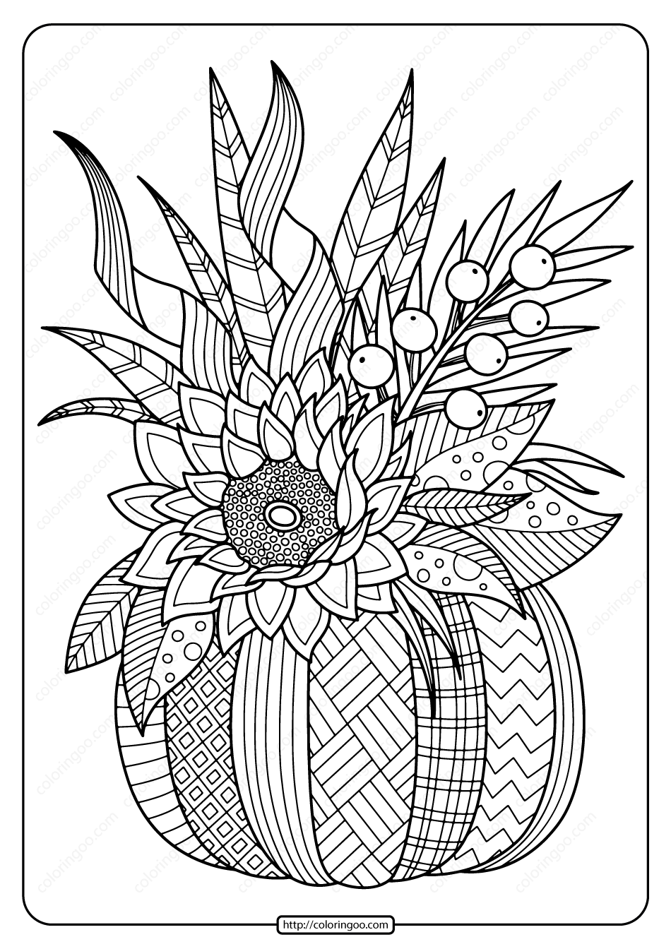 Printable Fall Pumpkin With Flower Coloring Page Free Halloween Coloring Pages Pumpkin Coloring Pages Halloween Coloring Pages