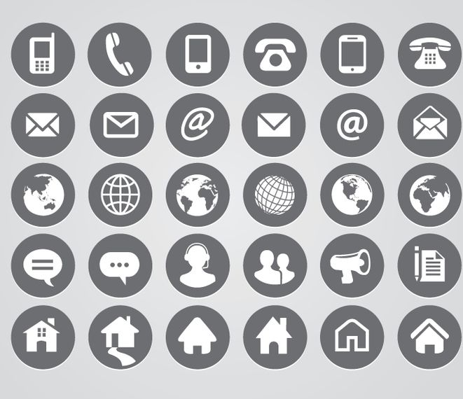 rounded contact icons