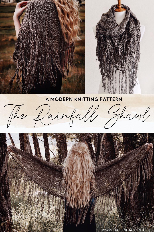 Boho Shawl Scarf With Tassels Knitting Pattern by Darling Jadore | THE RAINFALL SHAWL