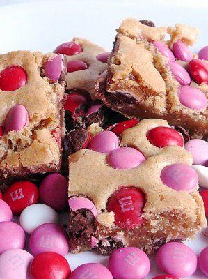 Valentine's Day blondie brownies