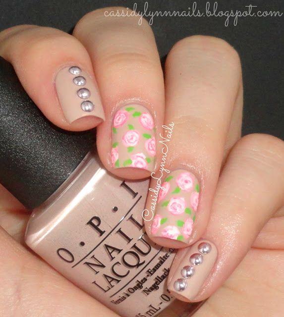 Cassidy Lynn Nails: Vintage Floral Nail Art | Beauty (hair, nails ...