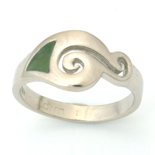 Platinum New Zealand Green Stone Pounamu Ring Form Bespoke