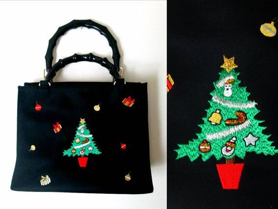 Embroidered Christmas Tree Handbag / Small by looseendsvintage