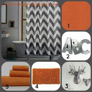 grey and orange shower curtain. Love the chevron shower curtain with burnt orange  Master bathroom inspiration