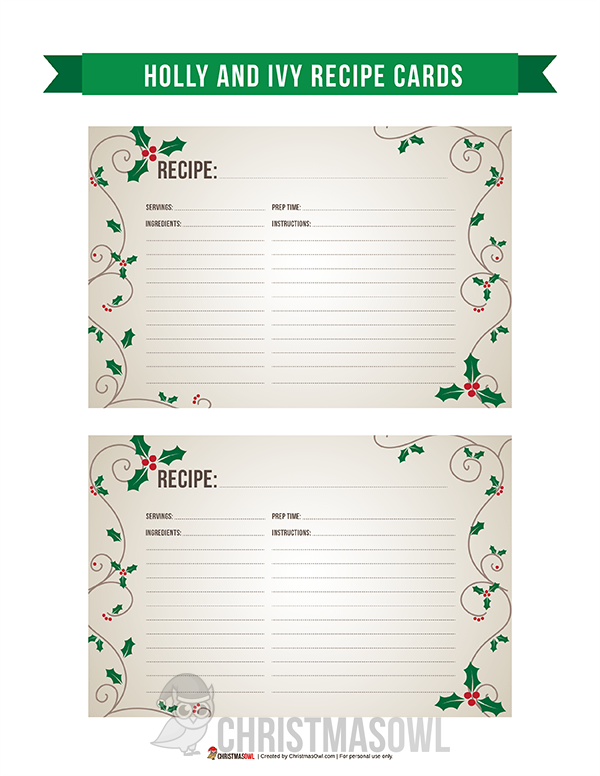 Free Printable Recipe Cards Featuring An Elegant Holly And Ivy Design Download T Printable Recipe Cards Christmas Recipe Cards Printable Recipe Cards Template