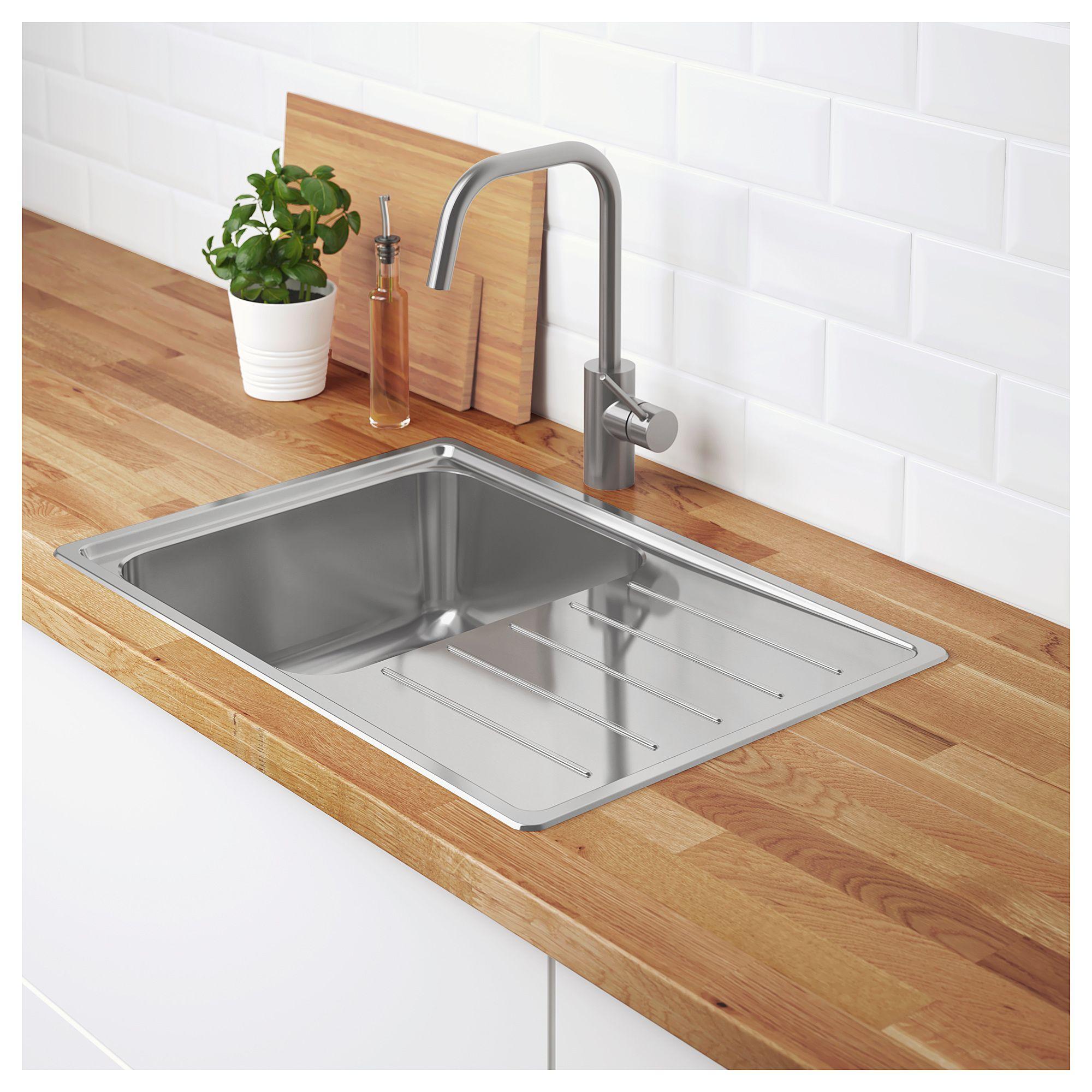 Ikea Vattudalen Single Bowl Top Mount Sink Stainless Steel Inset Sink Kitchen Countertops Sink