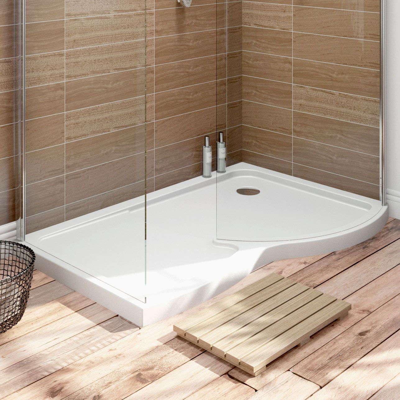 6mm curved right handed walk in shower enclosure with tray 1400 x ...