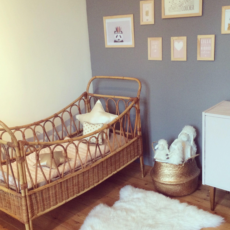 Rattan Couffin Rotin Enfant Kids Lit Bois Nursery Decor