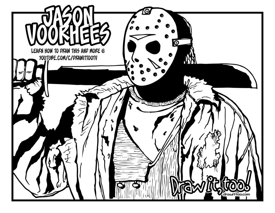 13th coloring friday jason pages 2020 Halloween
