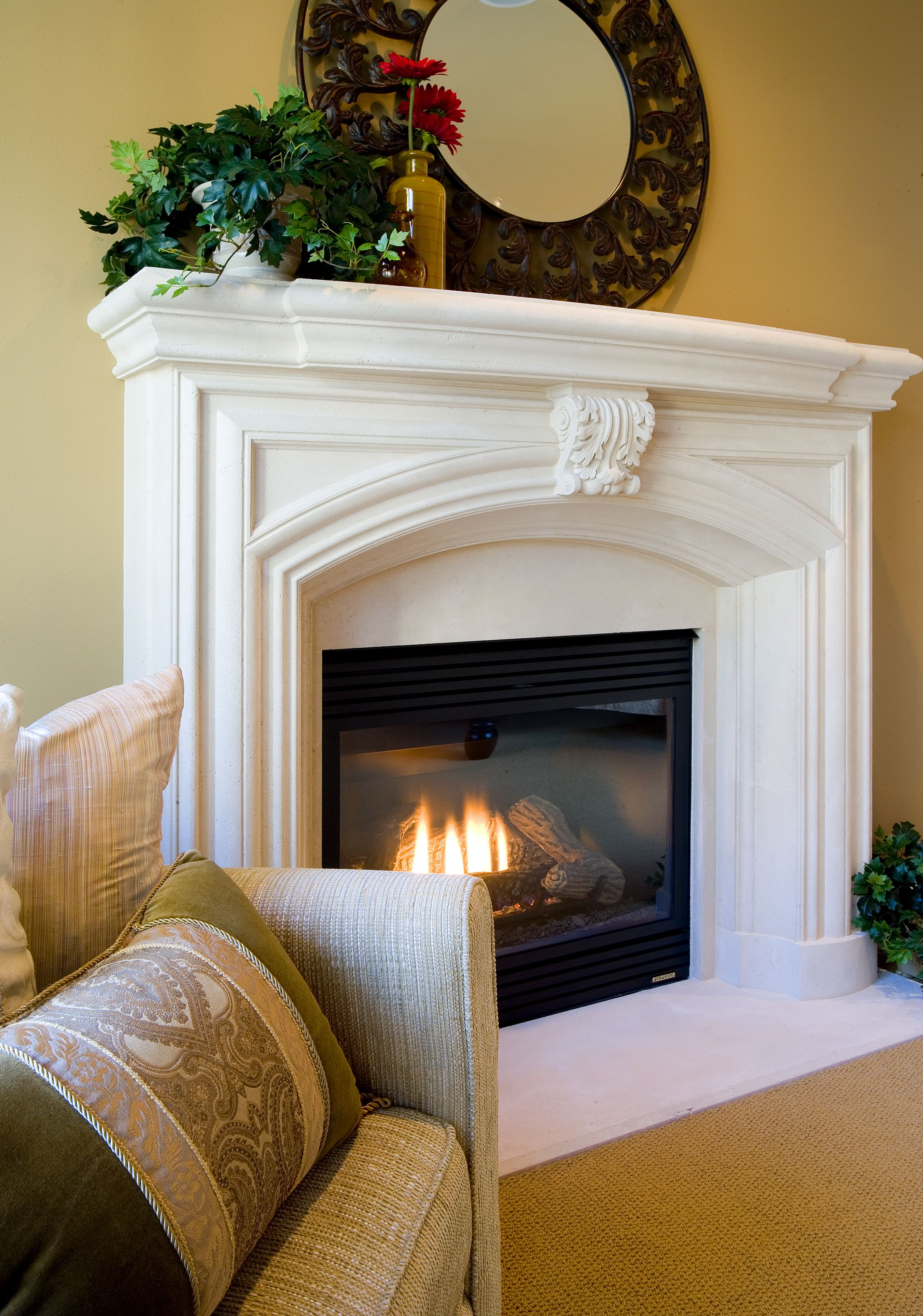 This Fireplace With A Polished White Mantel Will Help You Surely