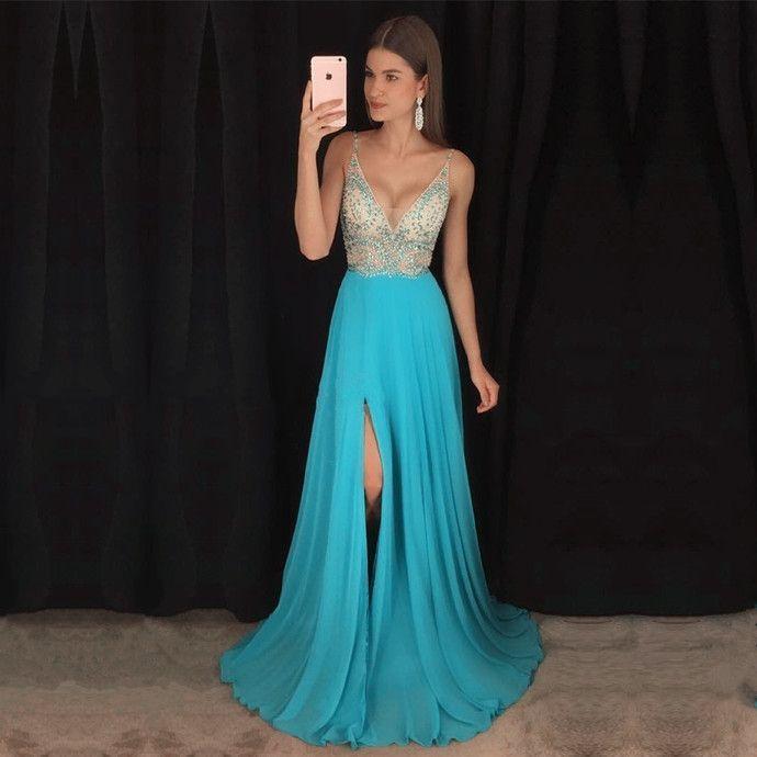 cd57f16d1 2016 Turquoise largo Prom vestidos Scoop una línea cremallera volver A  través de la cintura con volantes con cuentas vestidos de graduacion largos  ...