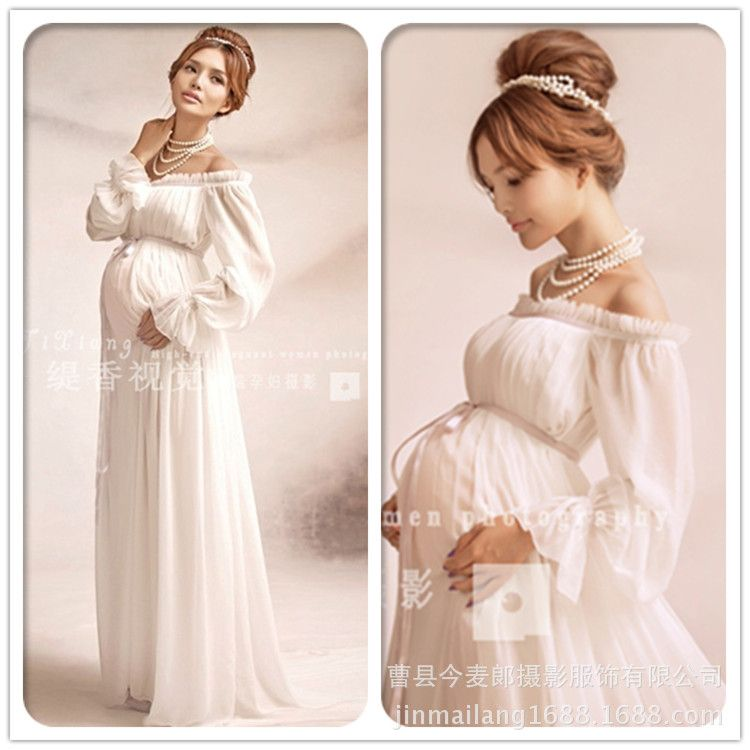 Elegant lace Maternity dress Photography Props Long dress pregnant ...