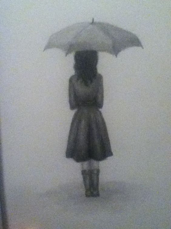 My drawing of a girl with an umbrella
