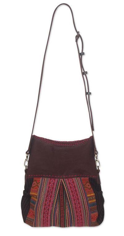 Novica Leather accent cotton hobo bag, Boho Garden