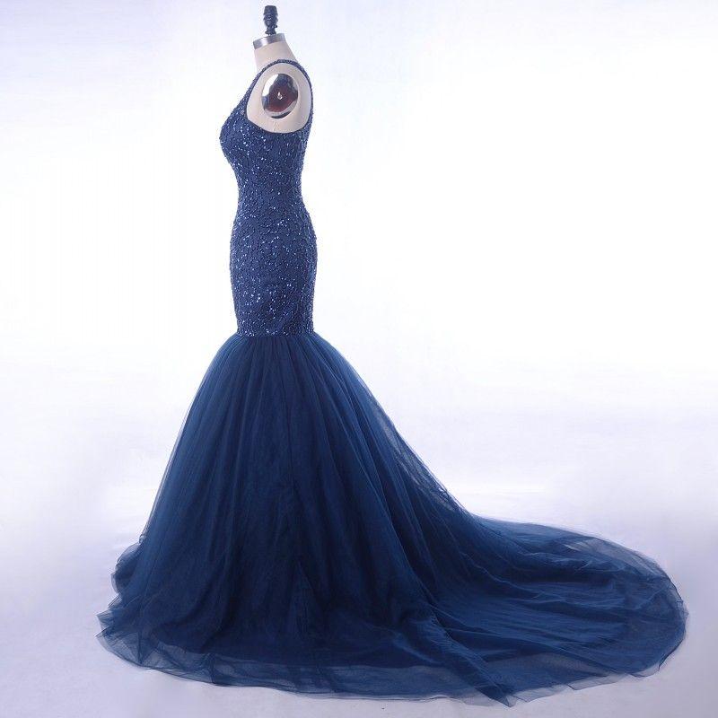 Navy Beaded Top Prom Dresses 2018