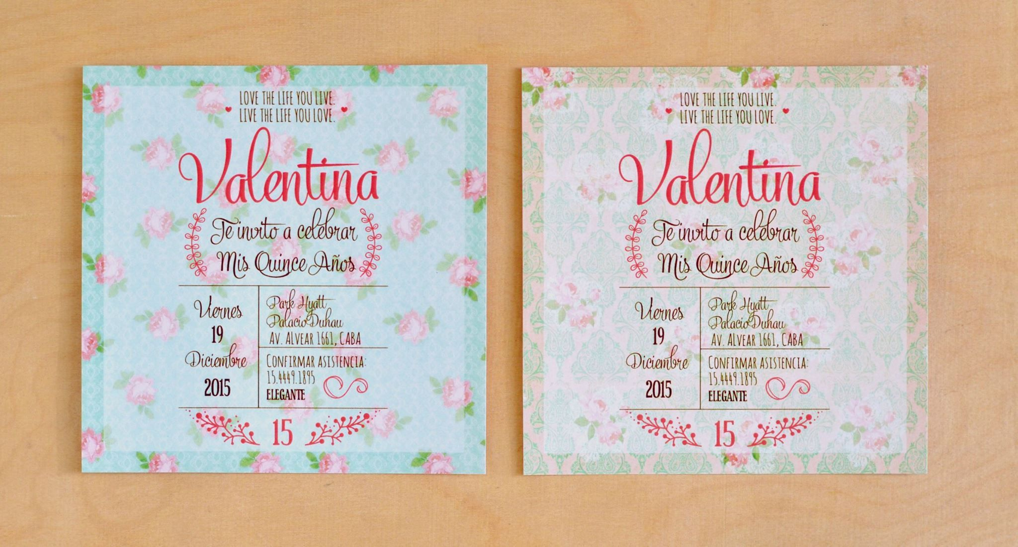Invitaci n 15 a os floral 3 akemi 3 tarjetas para for Tarjetas de 15 anos vintage