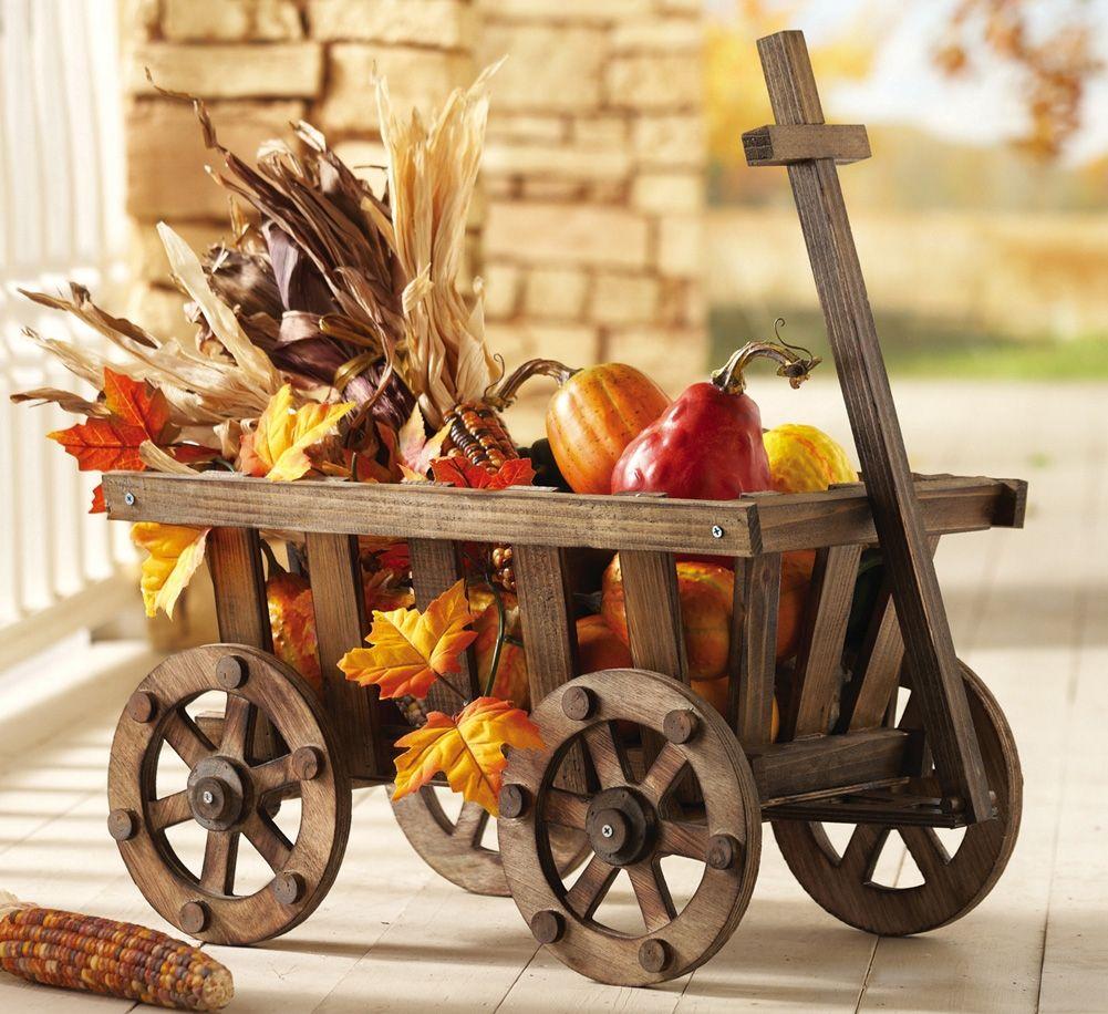 Rustic Wooden Decorative Garden Wagon | Garden wagon. Fall outdoor decor. Wood wagon