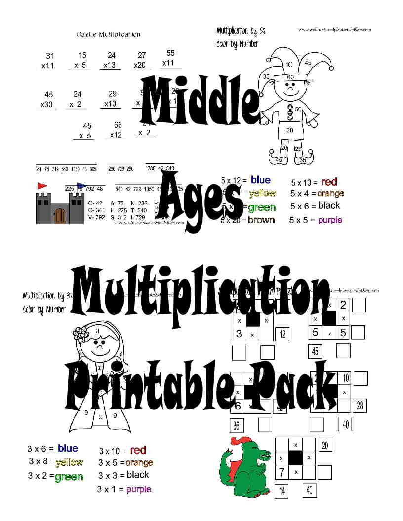 free middle ages multiplication worksheets printable pack - School Worksheets To Print For Free