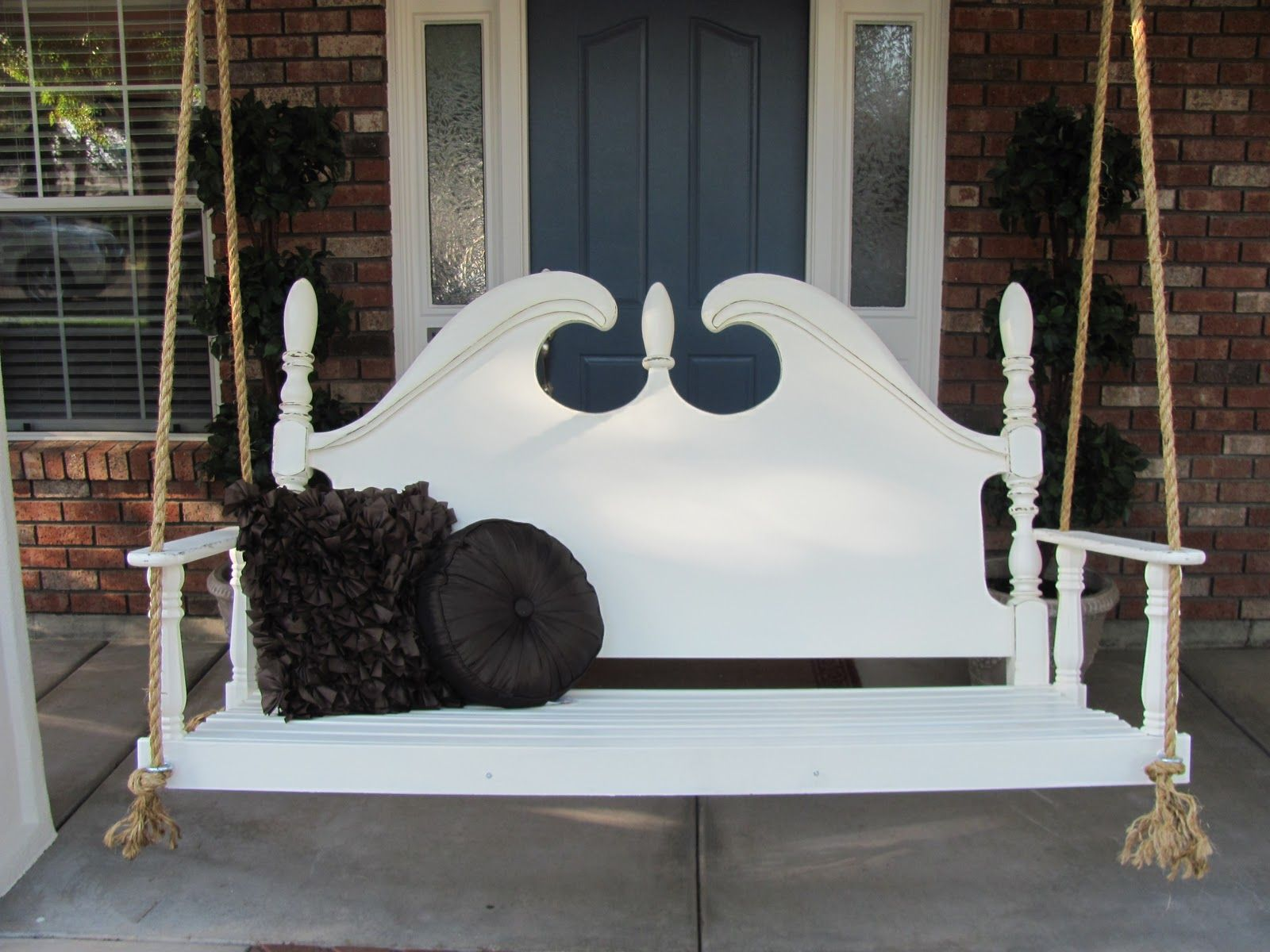 great repurpose of a swing made from headboard by lady