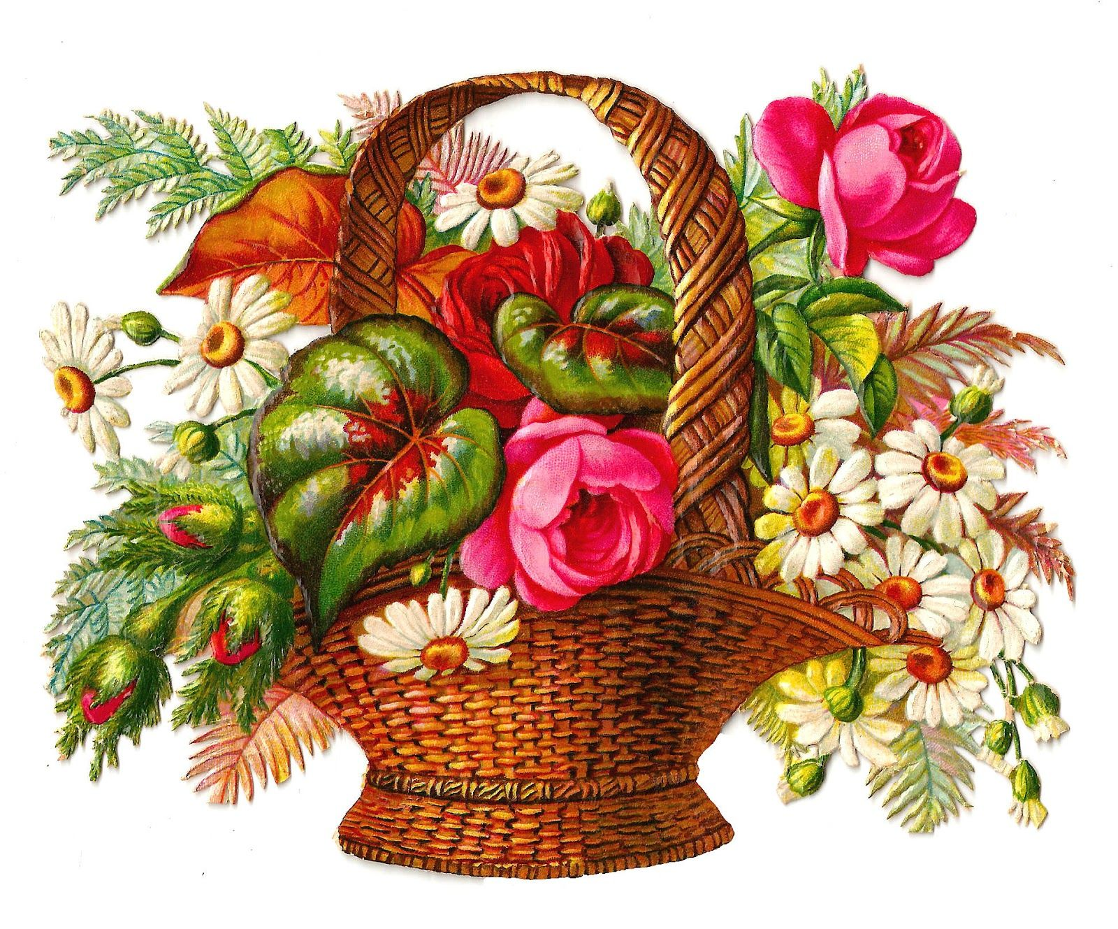 Free Printables · Victorian Scrap €� Flower Basket