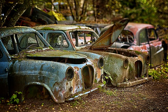 From a visit to a car cemetery in Sweden this fall. These were placed in a way that was reminiscent of the cliché of elderly men gathering in the shadow of a giant plane tree in your typical Southern European smalltown square...