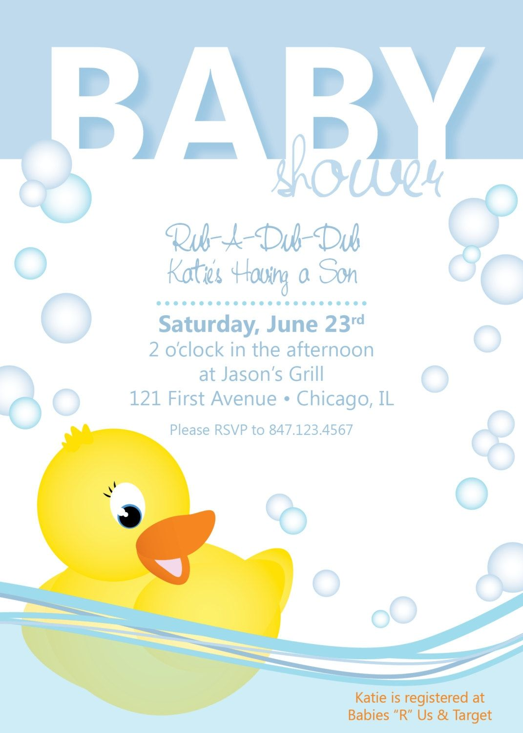 Rubber Ducky Baby Shower Invitations Template | http://atwebry.info ...