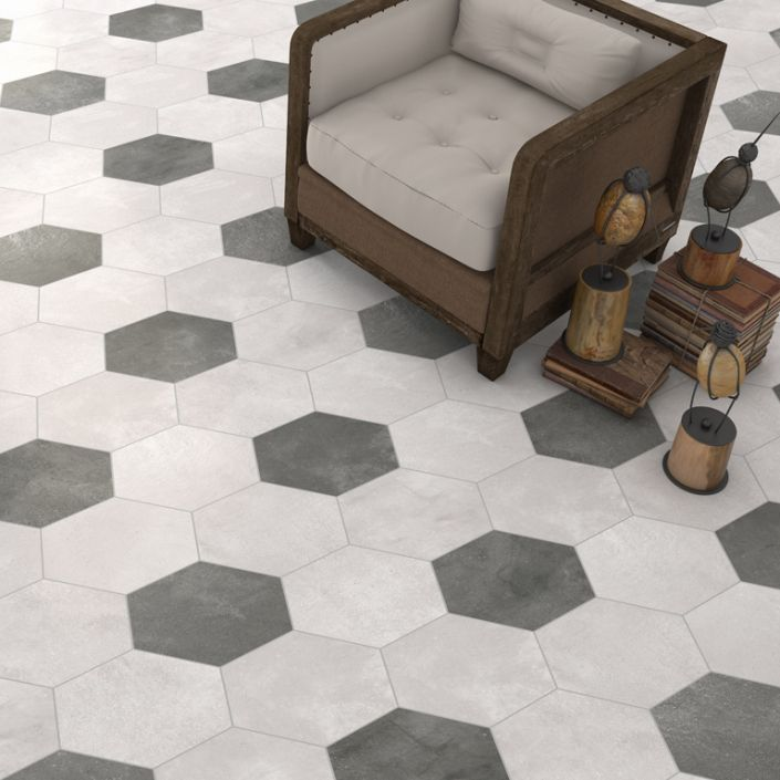 Vives Hexagon Rift grafito, crema, cemento and blanco geometric floor tiles