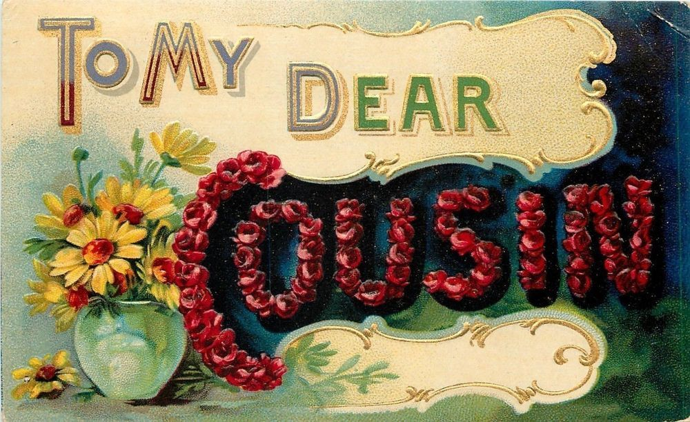 Bright Bold Red Rose Large Letter~Dear Cousin~Daisies~Gold Art Nouveau~Emboss