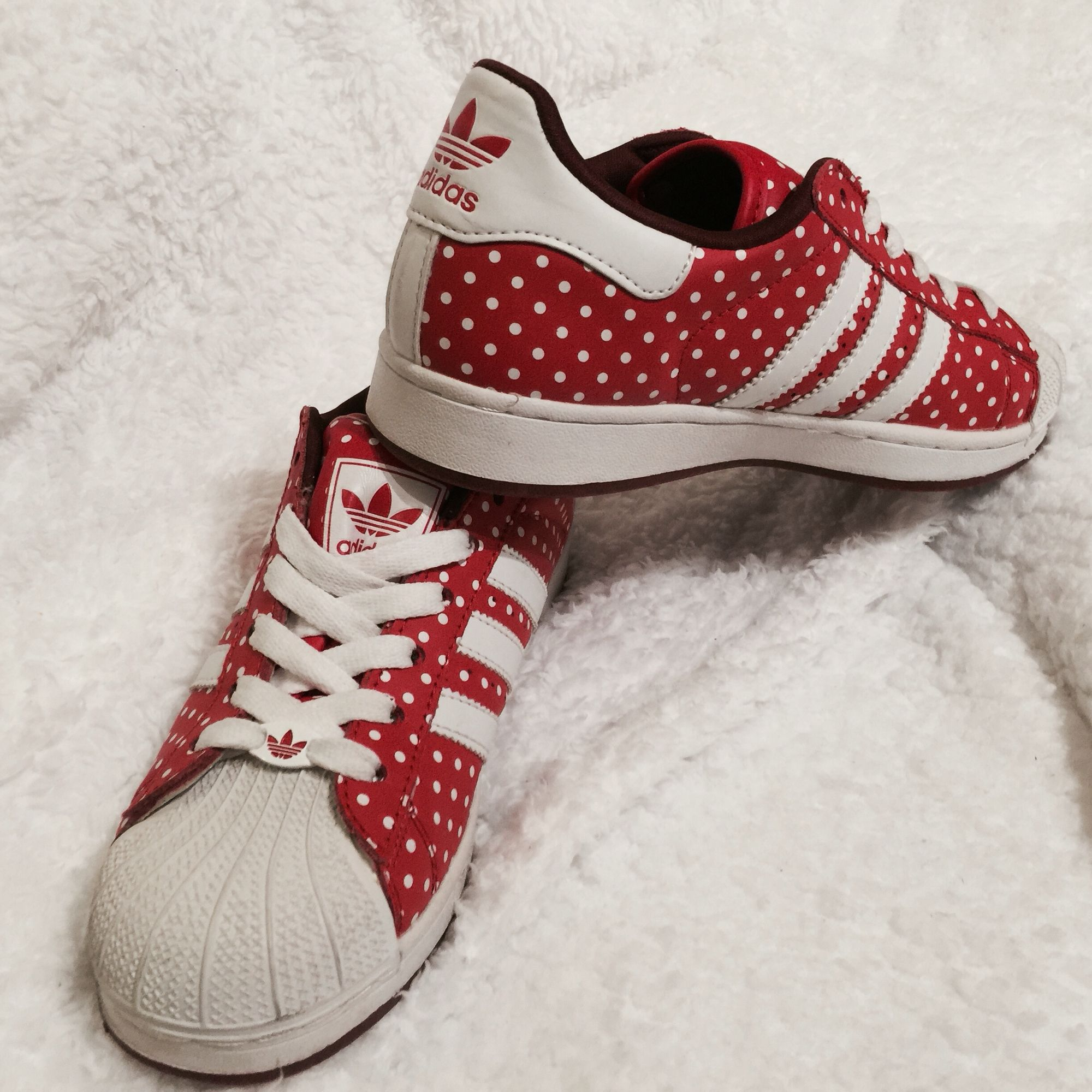 Adidas Red and White Spotty Polka Dot