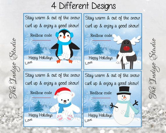Redbox Codes gift tag cards 4 Different Designs by