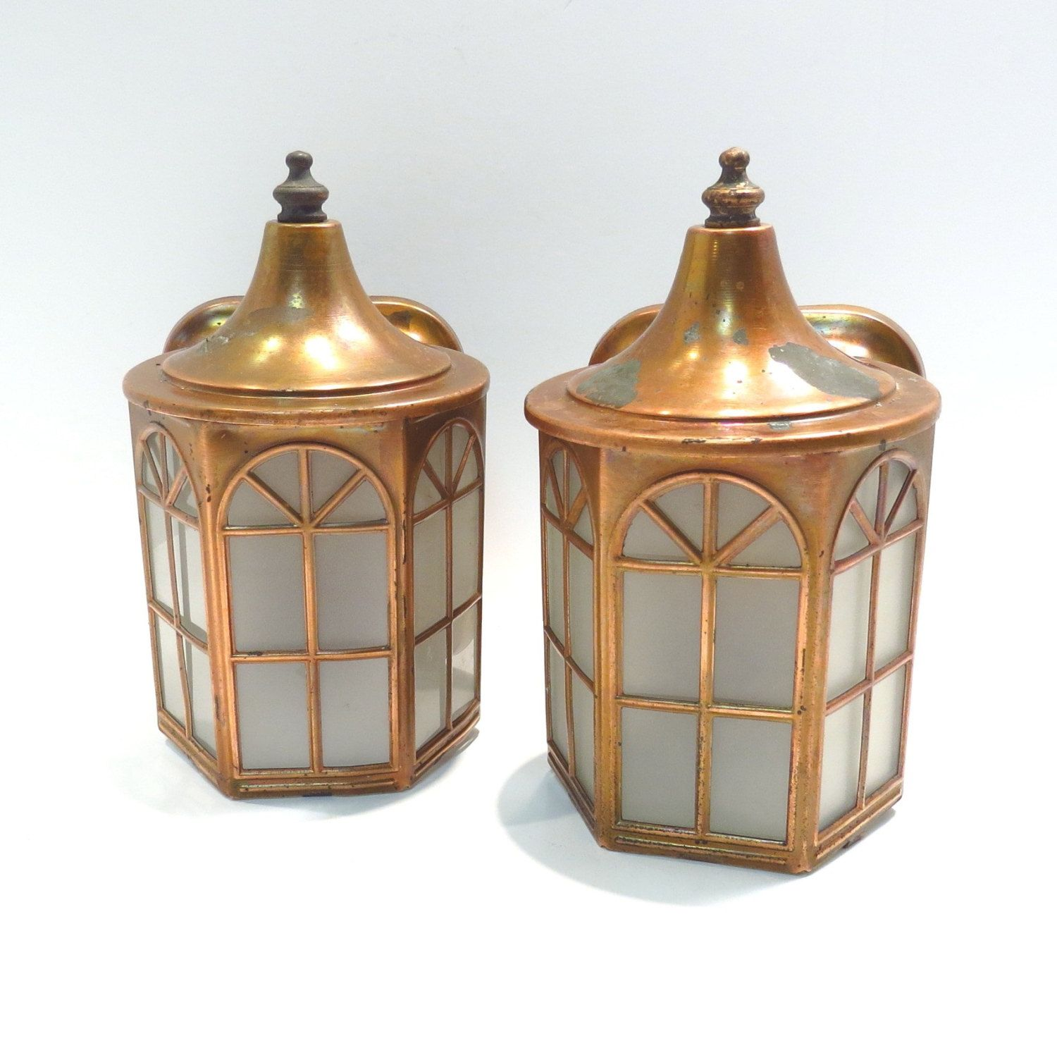 Pair Copper Artolier Arts And Crafts Porch Light Vintage 1940s Frosted Glass Shabby Chic Outdoor Lights By Vintagecree New Ceramics Porch Lighting Copper Lamps