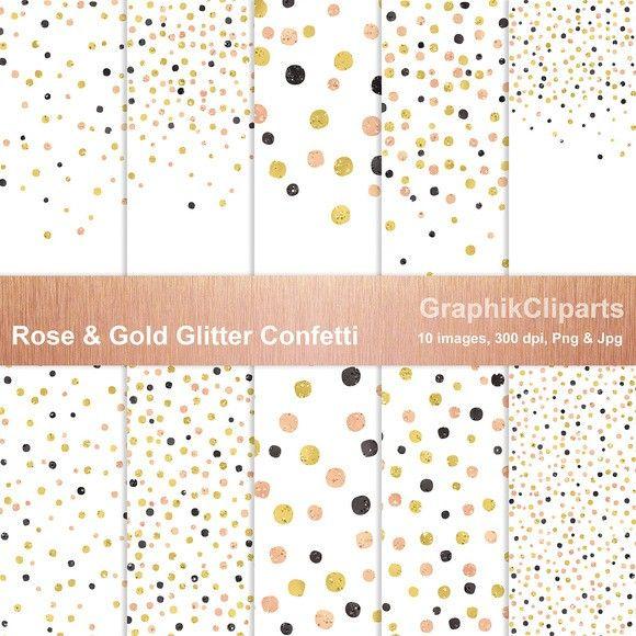 Rose Gold Glitter Confetti Png Jpg Rose Gold Glitter Confetti Digital Paper Gold Digital Paper