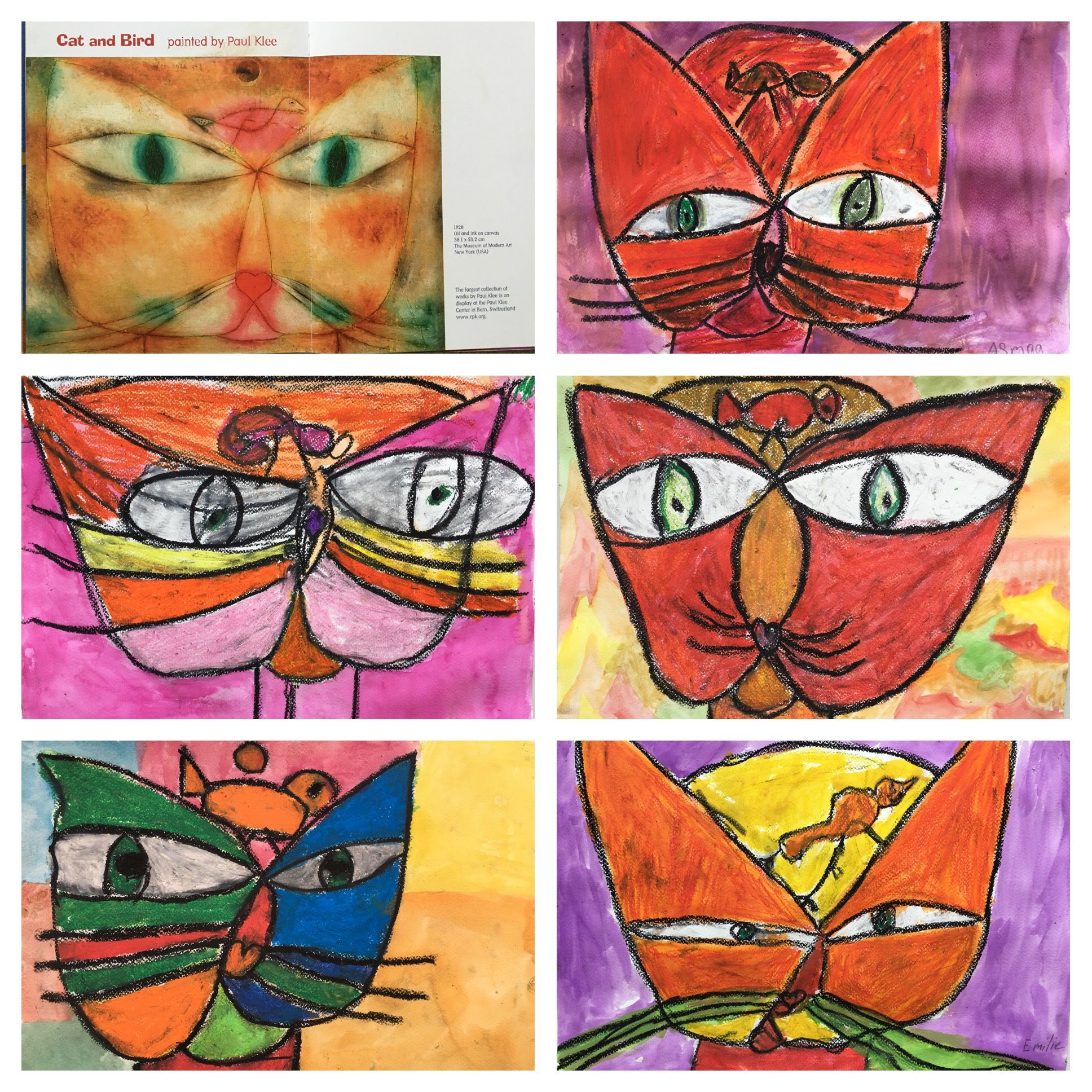 Paul Klee Cat And Bird Project Oil Pastel And Watercolor