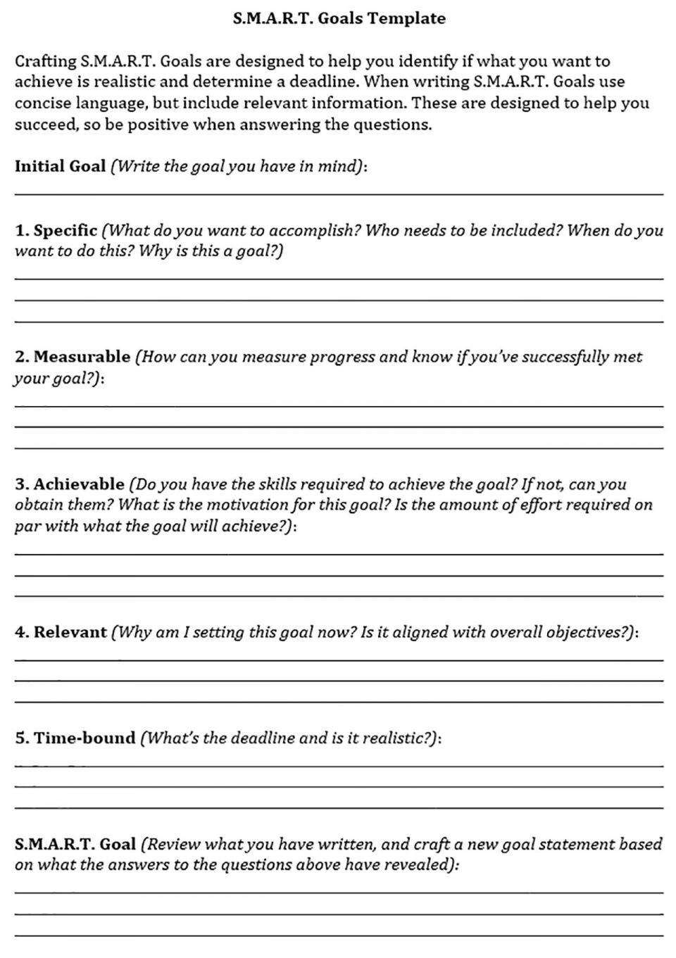 SMART Goals Template Modle De Buts Communication Graphique