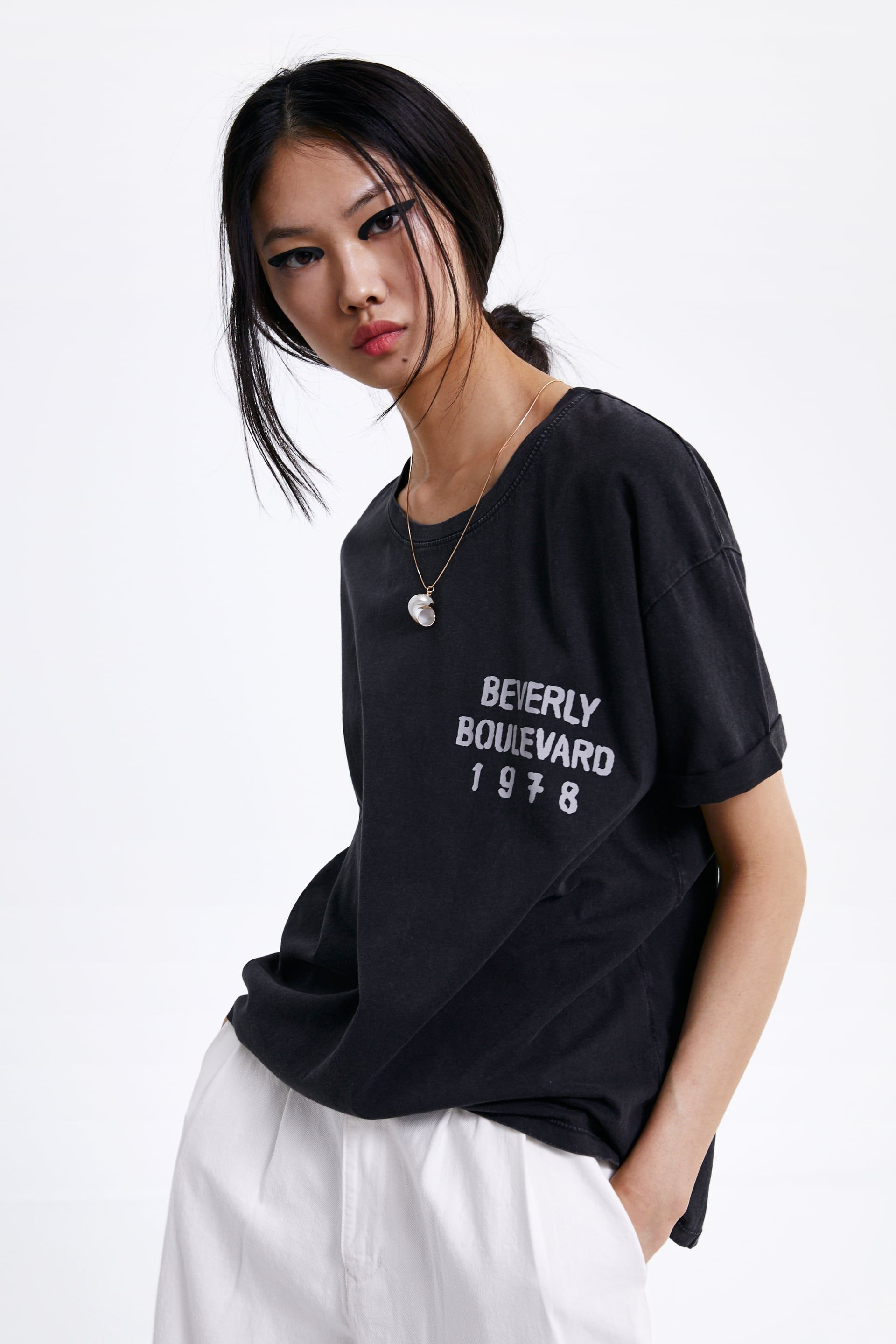 576409e6 T - SHIRT WITH TEXT-Printed graphics-T-SHIRTS-WOMAN   ZARA United States