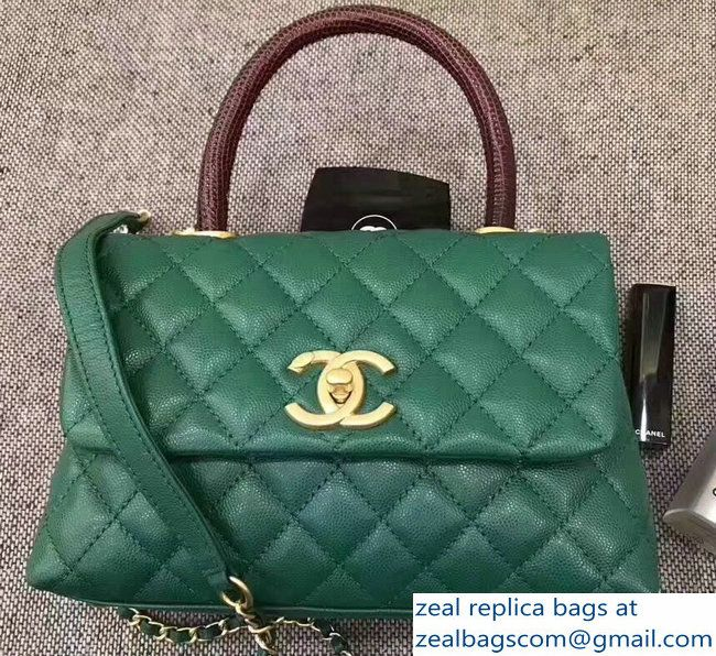 23297be24e4f Chanel Coco Lizard leather Top Handle Flap Shoulder Bag in Grained Calfskin  A92991 Green_2803114811