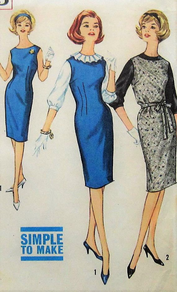 Vintage Jumper Dress and Blouse Sewing Pattern Simplicity 4605 ...