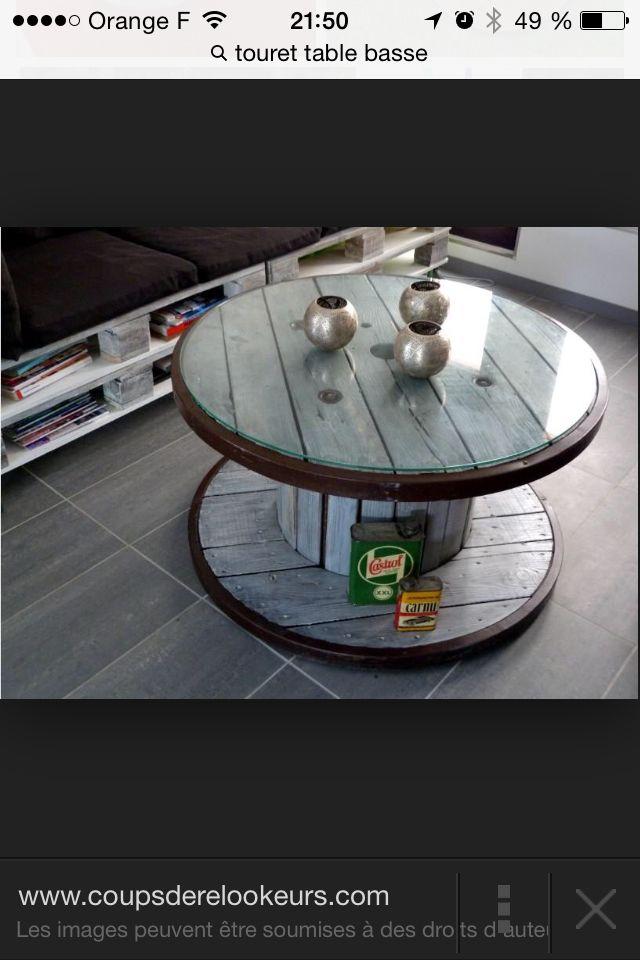 Table basse touret pinterest table basse bas et table - Table basse rouleau electrique ...