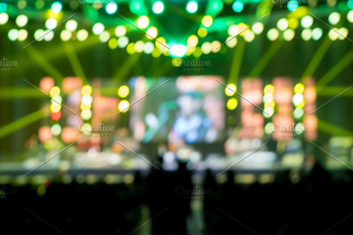 Photo of blurred music brand showing on stage #Sponsored , #paid, #Concert#stage#Defocuse…
