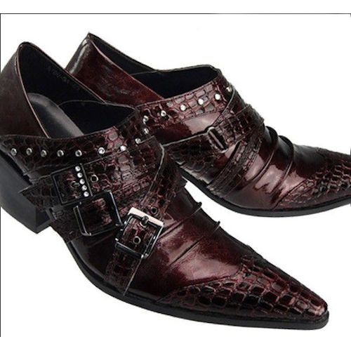 6b6c4c98d53 Mens Burgundy Patent Leather High Heel Pointy Hipster Fashion Shoes  SKU-1100273