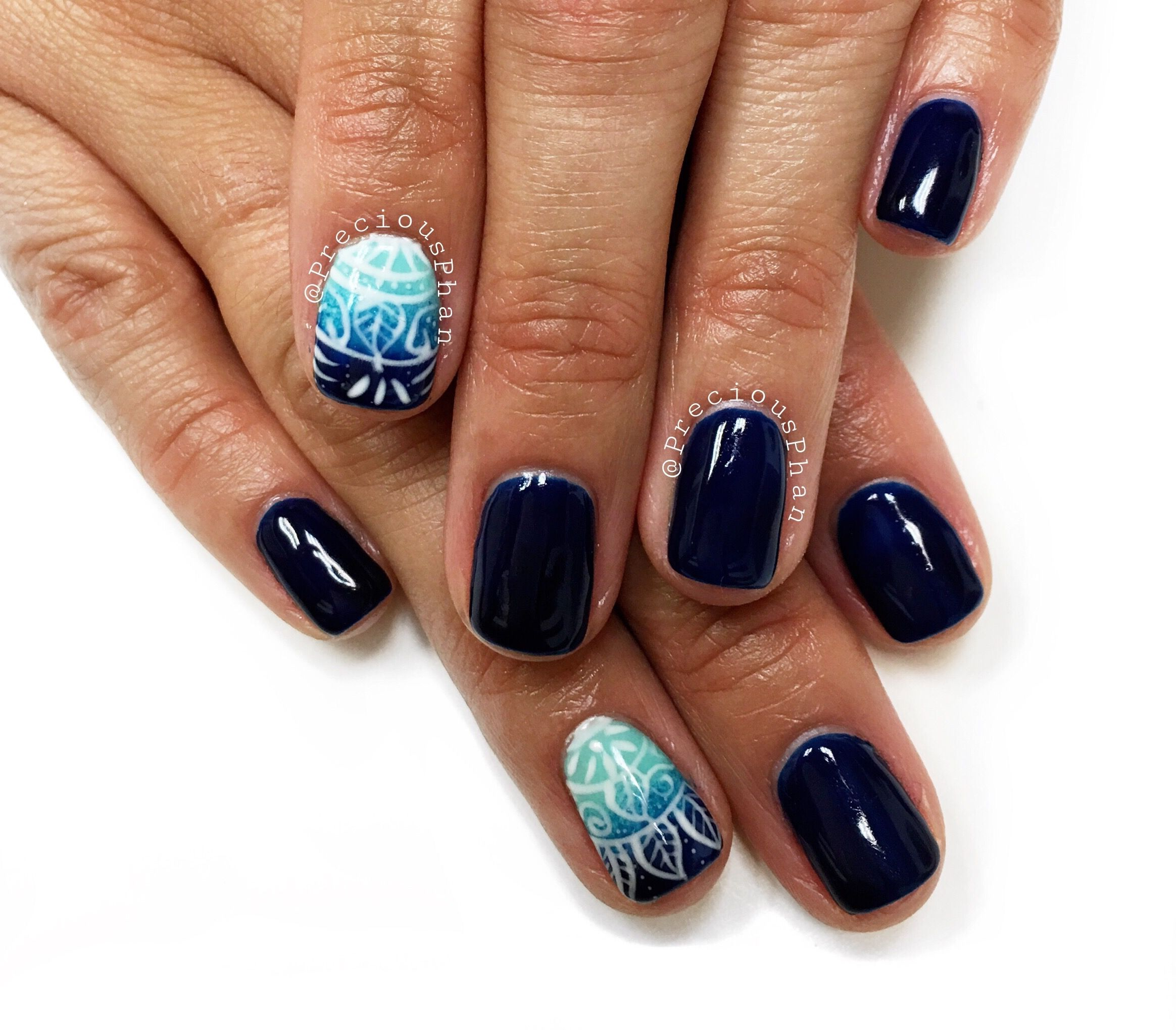 Navy blue nails. Ombré with a nail art. #PreciousPhanNails ...