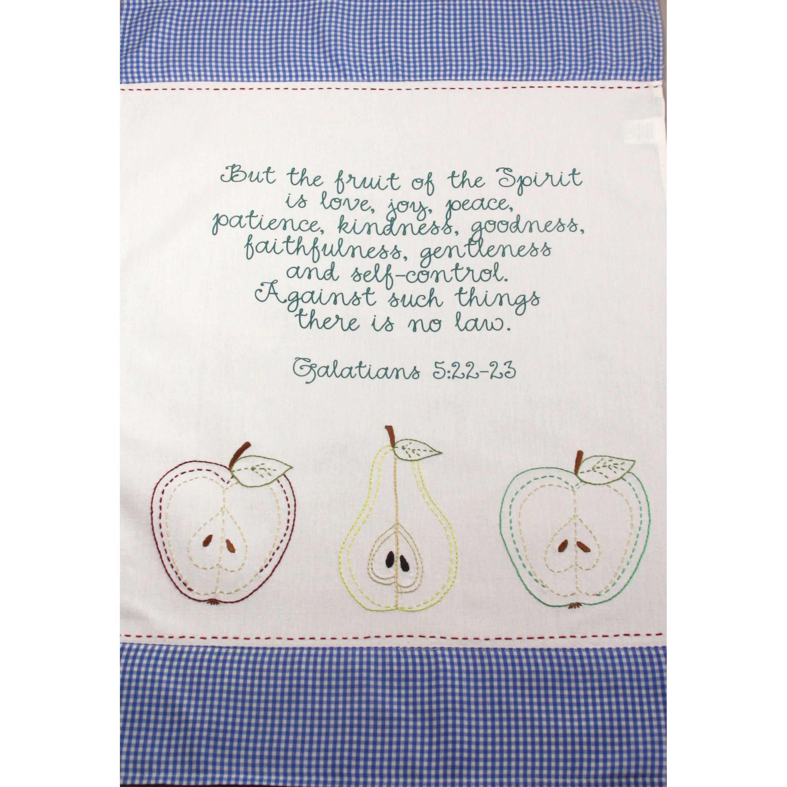 Add a touch of whimsy to your home with this Fruit of the Spirit bible verse kitchen towel set of two. Hand-embroidered details and blue checkered pattern complement the screen print letters.
