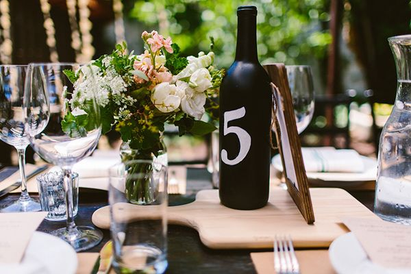 Wine Bottle Table Number Photo By Redfield Photography Http Ruffledblog