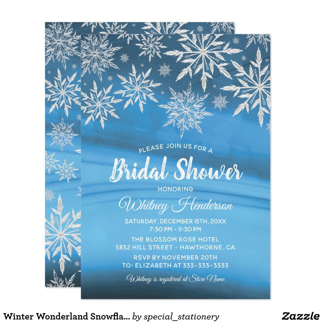 Winter Wonderland Snowflake Bridal Shower Card | Bridal shower cards ...