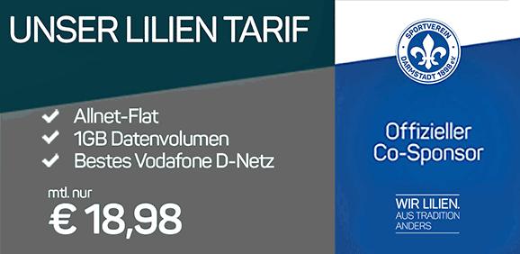 Günstiger Vertrag Lilien-Tarif Allnet-Flat 1 GB Sim Only oder mit Handy für 1,00€ wie dem Huawei P9 Lite oder Samsung Galaxy A5 (2017) nur 18,98 € Grundgebühr im Netz von Vodafone.